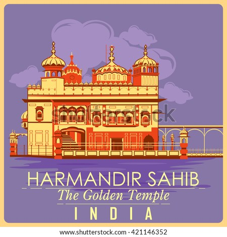 Vintage poster of Golden Temple in Amritsar, famous monument of India . Vector illustration - stock vector