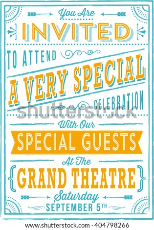 Vintage Poster - Retro and hand-drawn vintage poster design.  File is layered, colors are global and each object is grouped separately for easy editing.  - stock vector