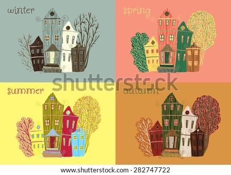 vintage poster sweet home.Cartoon concept card with houses and trees in retro colors seasons. Winter, autumn, spring, summer. Used for wallpaper, pattern fills, web page background,surface textures. - stock vector