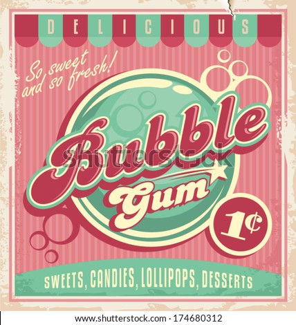 Vintage poster template for bubble gum. Retro vector banner design for chewing gum. - stock vector