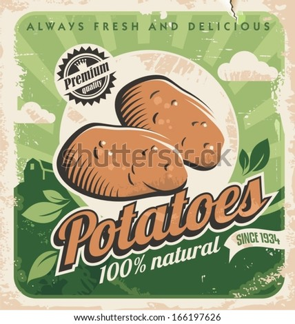 Vintage poster template for potato farm. Retro vegetables label design. Vector old paper texture food background. Food and drink design concept. - stock vector