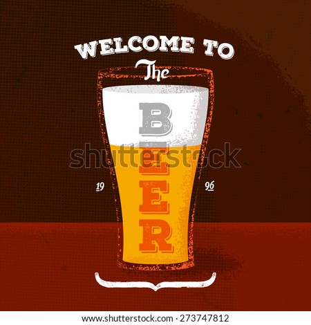 Vintage poster with beer and lettering label - stock vector