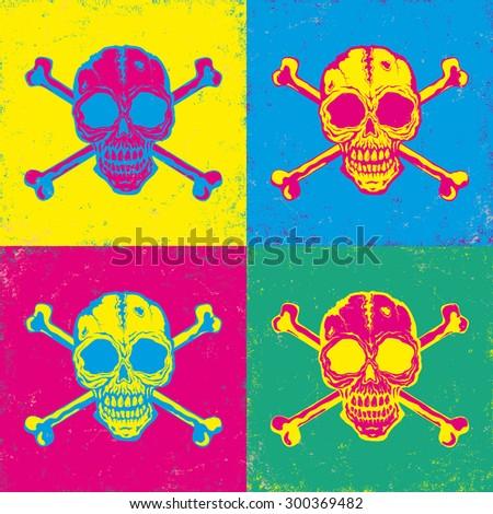 Vintage poster with bright color skulls - stock vector