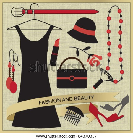 Vintage poster with fashion and beauty elements 2