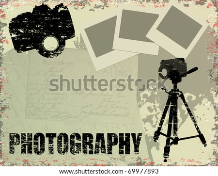 Vintage poster with instant photos, letters and photo cameras - stock vector