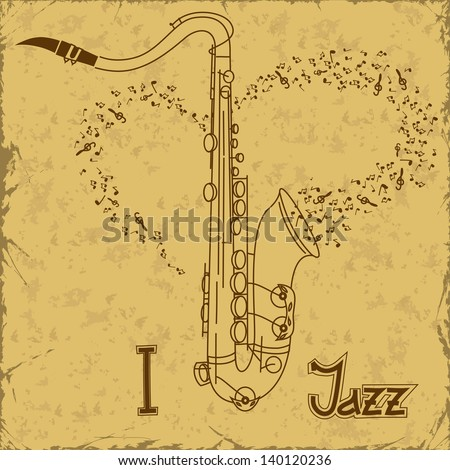 Vintage poster with saxophone - stock vector