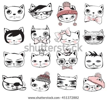 Stylish Cat vintage poster stylish cat avatars vector stock vector 451372882