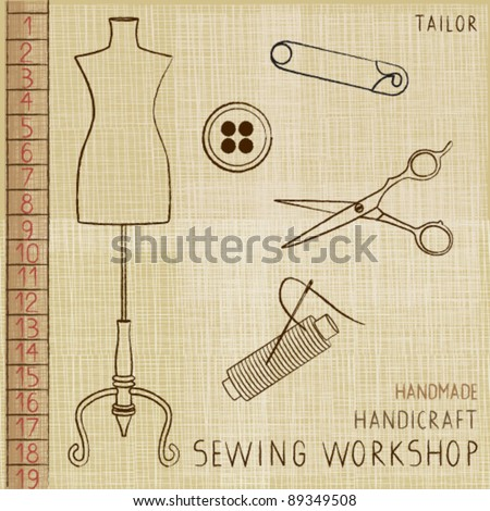 Vintage poster with tailoring elements 1 - stock vector