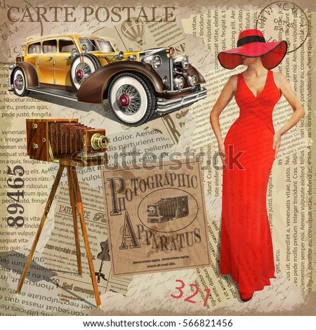 Old Fashion Car On A Card