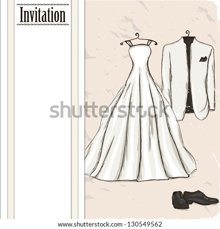Vintage poster with with a wedding dress and tuxedo. Vector illustration EPS10 - stock vector