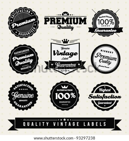 Vintage Premium Quality Labels and Sticker collection - stock vector