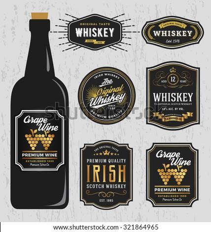 Vintage Premium Whiskey Brands Label Design Stock Vector - Wine label design templates free