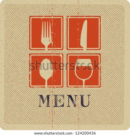 Vintage print of menu cover. - stock vector