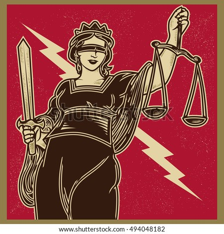 Vintage propaganda poster and elements. Retro Clip art of lady justice Themis holding scales balance and sword. Isolated artwork object. Suitable for and any print media need.