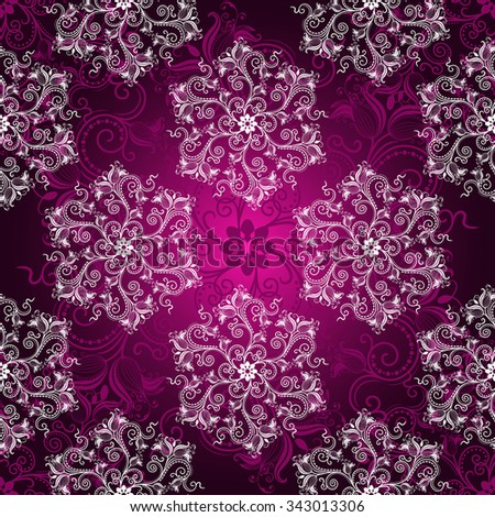 Vintage purple seamless pattern with white filigree lacy white circles, vector eps10 - stock vector