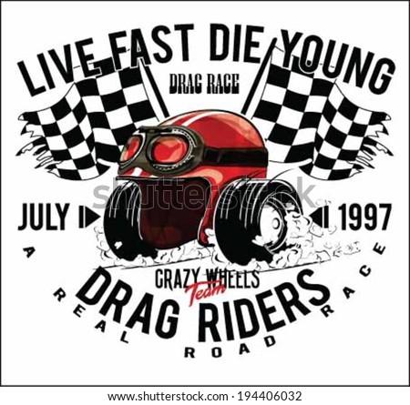 vintage race car and motorcycle for printing.vector old school race poster.helmet cartoon drag printing - stock vector