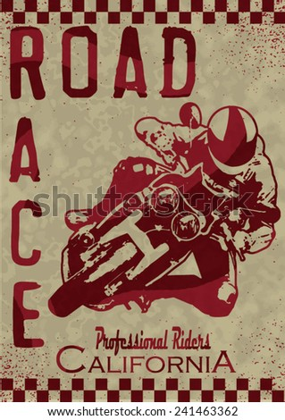 vintage race car and motorcycle for printing.vector old school race poster.retro race car or motorbike vector print set race posters.real road race posters - stock vector