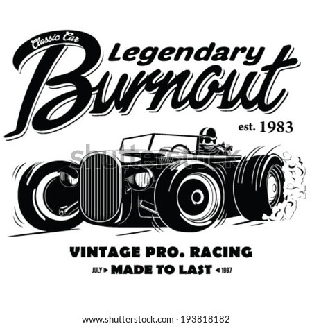 vintage race car burnout for printing. - stock vector