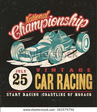 vintage race car for printing. Original quality te print - stock vector