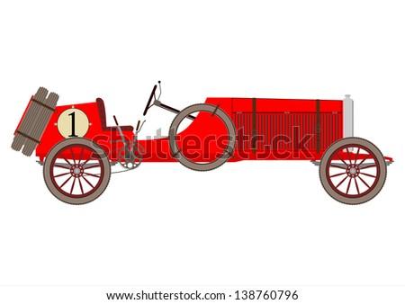 Vintage racing automobile. Vector - stock vector