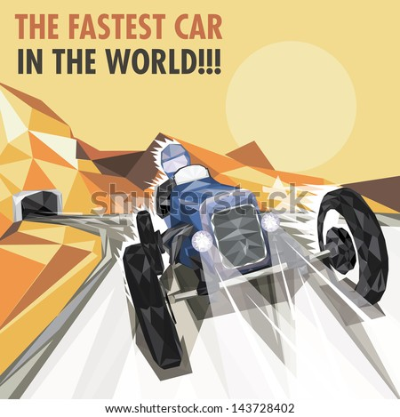 Vintage Racing Car Poster - stock vector