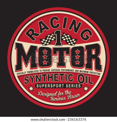 Vintage racing motor typography, t-shirt graphics, vectors - stock vector