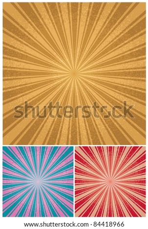Vintage Radial Background: Retro radial background in 3 color versions. No transparency and gradients used. - stock vector