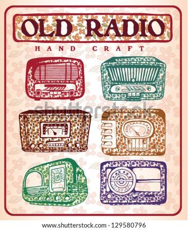 vintage radio drawing set - stock vector