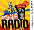 Vintage Radio poster, vector illustration - stock vector