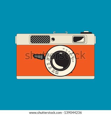 vintage rangefinder film camera - stock vector