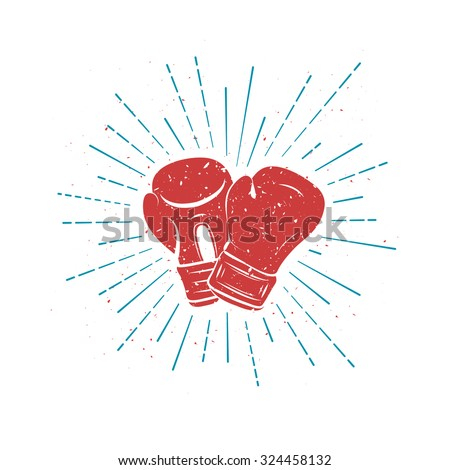 Vintage Red Boxing Gloves with Blue rays. Template for t-shirt, postcard, cover or your art works - stock vector