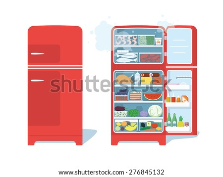 Vintage Red Closed and Opened Refrigerator Full Of Food. Vector Illustration - stock vector