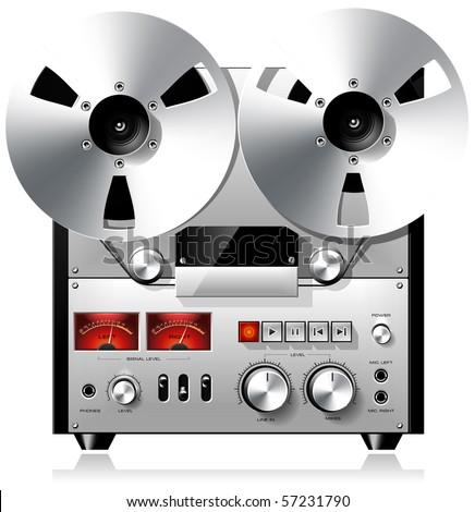 Vintage reel to reel tape recorder deck - stock vector