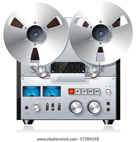 Vintage reel to reel tape recorder deck - stock vector