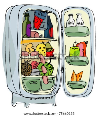 vintage refrigerator full of food - stock vector