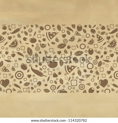 Vintage Restaurant Background With Icons, Vector Illustration - stock vector