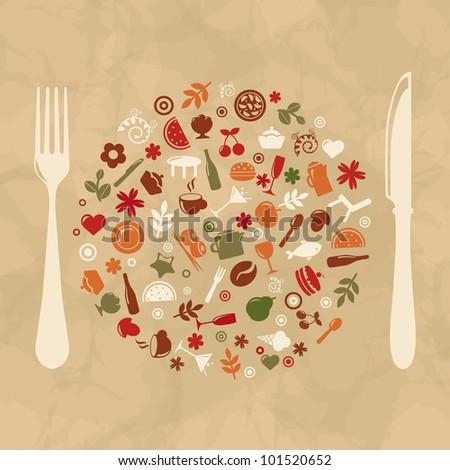 Vintage Restaurant Design, Old Paper, Vector Illustration - stock vector