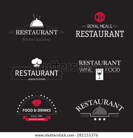 Vintage restaurant logo set, retro design elements, business signs template, identity, labels, badges and objects for restaurant. - stock vector