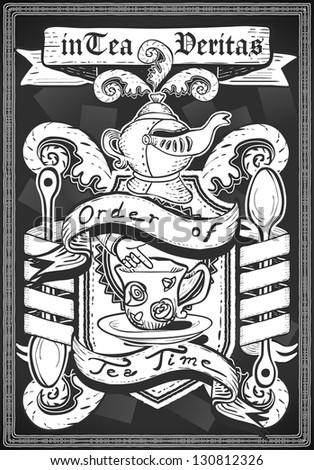 Vintage Restaurant Menu Blackboard. Tea Time Restaurant Chalk Board Menu.Retro Tea Time Menu Restaurant.Street Food Shop Blackboard List.Old Pub Bar Vintage Board Background Infographic Vector Image - stock vector