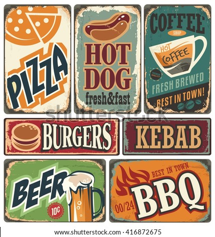 Vintage Restaurant Signs Collection Retro Food Posters And Design Elements Promotional Vector Ads Set