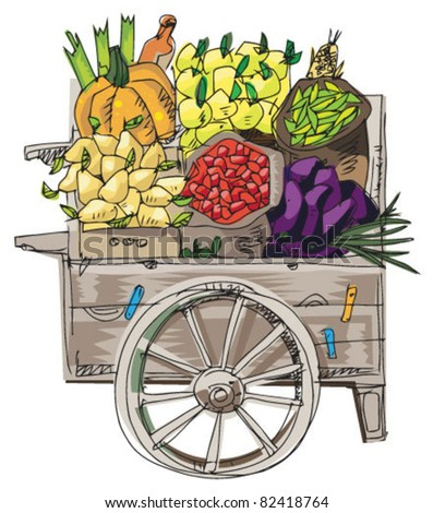 vintage retail cart with vegetables and fruits - stock vector