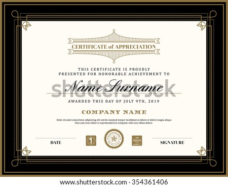 Vintage retro art deco frame certificate background design template - stock vector