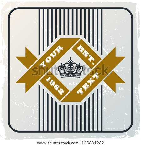 vintage retro background with crown - stock vector