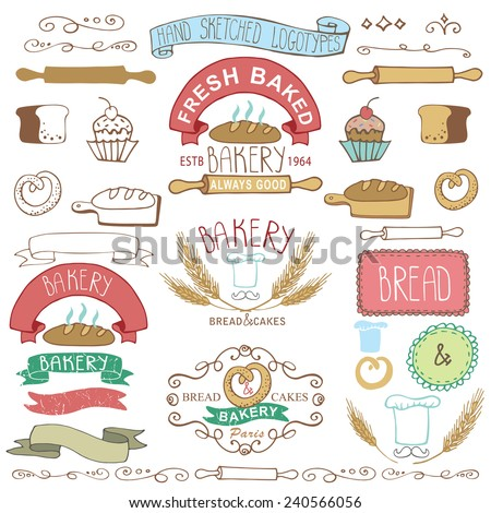 Vintage Retro Bakery Badges,Labels,logos. Colored hand sketched doodles and design elements (bread, loaf, wheat ear, cake icons,border,ribbon). Easy to make logo. Vector - stock vector