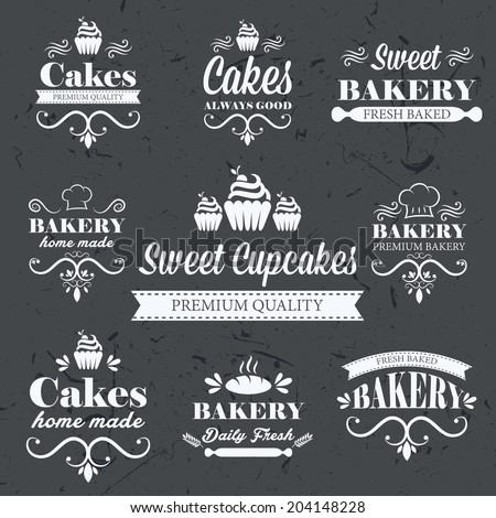 Vintage retro bakery labels on chalkboard stock vector for Classic house labels