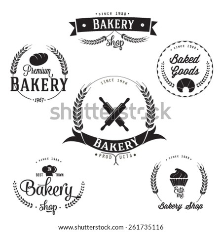 Vintage retro bakery labels set - stock vector