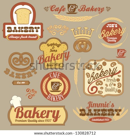 Vintage retro bakery logo badges and labels collection - stock vector