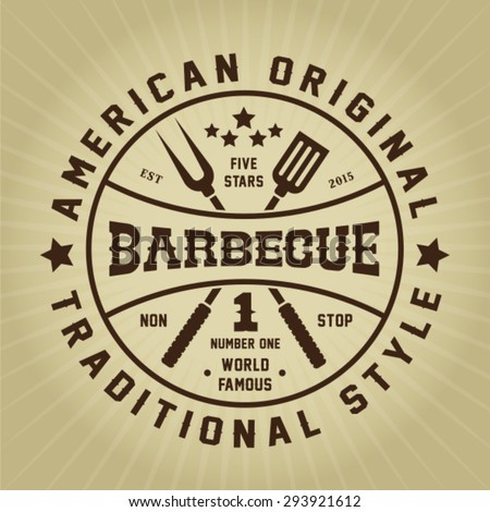 Vintage Retro Barbecue American Original Traditional Style Seal