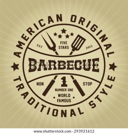 Vintage Retro Barbecue American Original Traditional Style Seal - stock vector
