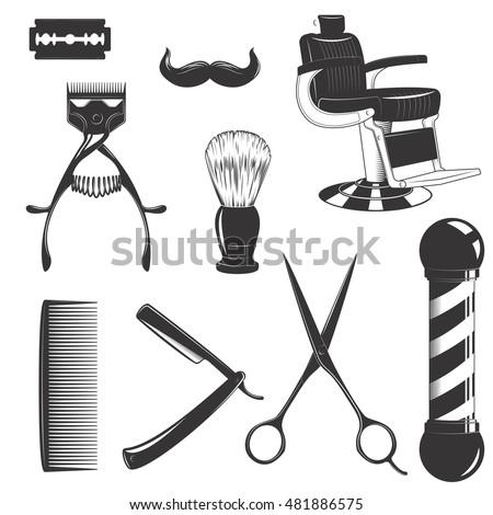 Vintage Retro Barbershop Set Cutting Equipment Stock